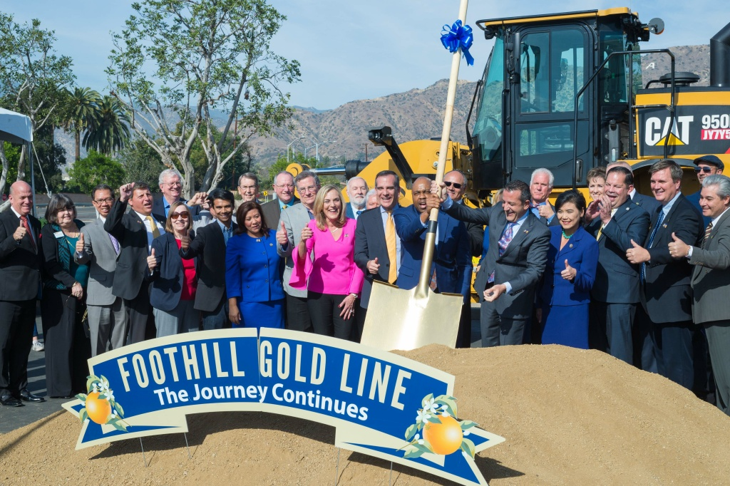 Officials gather at Citrus College in Glendora on Saturday, Dec. 2, 2017, for the ceremonial groundbreaking on the Gold Line extension that will stretch to Montclair.