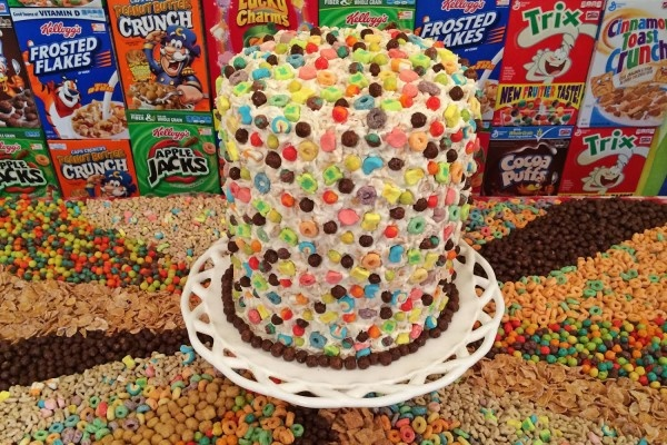 Charles Phoenix created a six-layer milk soaked cereal cake.