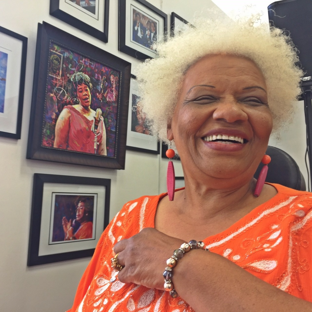 Jazz singer Barbara Morrison in the Ella 100 section of her brand new California Jazz and Blues Museum in Leimert Park in South LA.