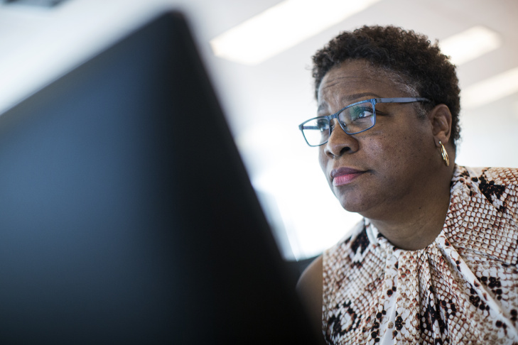 Sharon Persip, 54, takes part in an inventory management class in the Technology & Logistics Program at East Los Angeles College on Tuesday, Dec. 8, 2015. Persip, of Compton, worked as a respiratory therapist for 13 years and decided to make a career change.