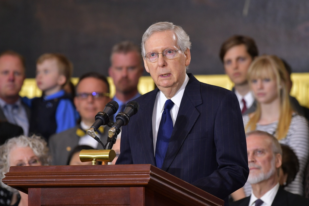 Senate Majority Leader Mitch McConnell speaks at the memorial service for Reverend Billy Graham on February 28, 2018 in Washington, DC.