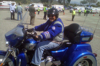 Frank Viramontes of Whittier drove to the Stow fundraiser on a Dodger-blue Harley Davidson that matched his bomber jacket. Viramontes donated $50.