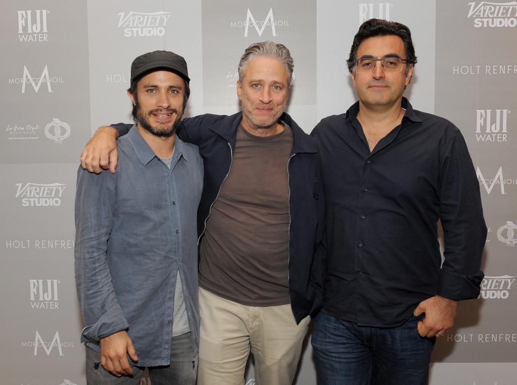 (L-R) Actor Gael Garcia Bernal, director-writer Jon Stewart and journalist Maziar Bahari at the