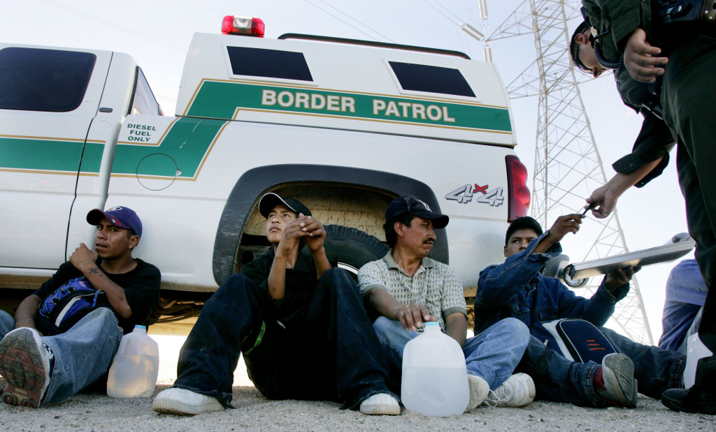 A group of migrants arrested crossing the border near El Centro, Calif. in August 2005, when illegal immigration to the U.S. was at a high point. After years of decline, a new report suggests a possible uptick in the number of unauthorized immigrants living in the U.S.