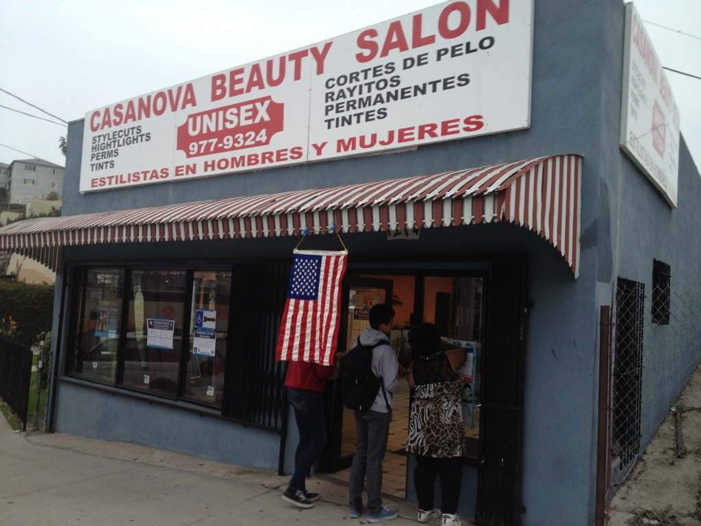 An Echo Park beauty salon turned polling place. A new report says that while Latino voters cast ballots in record numbers in 2012, the percentage of those who did — compared with the number of eligible Latino voters — was smaller than in 2008.