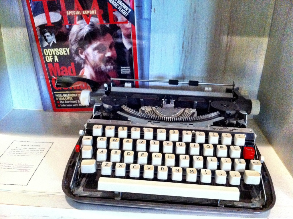 This typewriter, used by Ted Kaczynski, the Unabomber, was eventually evidence in the trial that convicted him. When Soboroff got it from the FBI at an auction raising money for the victims' families, it was missing parts Zaczynski used to make bombs.