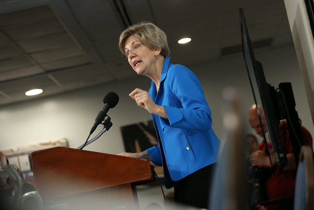 Sen. Elizabeth Warren speaking at the Roosevelt Institute May 12, 2015 in Washington, DC. The Massachusetts senator received a hero's welcome at the California Democratic Party convention in Santa Ana.