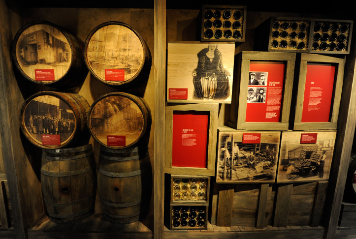 A Prohibition-era exhibit at The Mob Museum in Las Vegas, Nevada. The museum, also known as the National Museum of Organized Crime and Law Enforcement, chronicles the history of organized crime in America and the efforts of law enforcement to combat it.