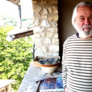 From this covered terrace on the fourth floor of his home in the South of France, Chicano artist Frank Romero can see much of the valley of the Ardèche.