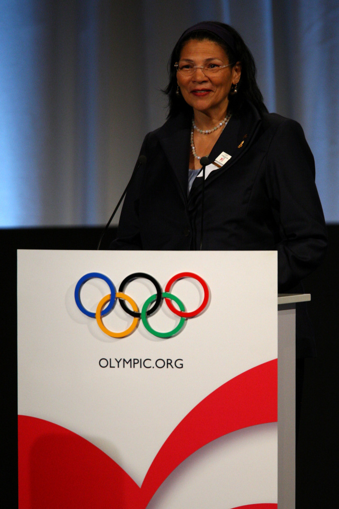U.S. IOC member Anita DeFrantz addresses the IOC members during the Chicago 2016 presentation on October 2, 2009 at the Bella Centre in Copenhagen, Denmark. The 121st session of the International Olympic Committee (IOC) will vote on October 2 on whether Chicago, Tokyo, Rio de Janeiro or Madrid will host the 2016 Olympic Games.  (Photo by John Gichigi/Getty Images) *** Local Caption *** Anita DeFrantz