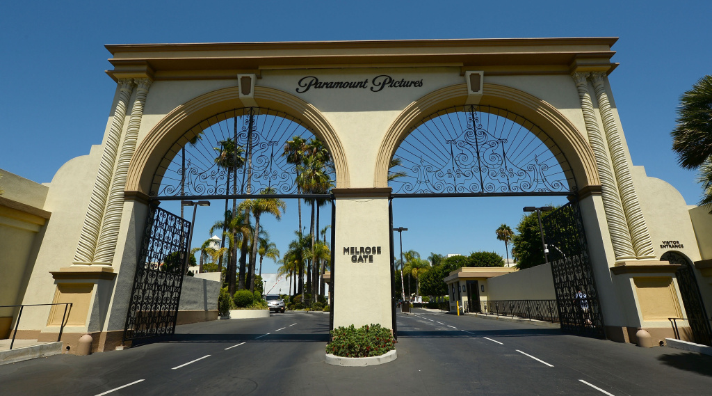 The entrance of Paramount Studios is seen at Paramount Studios on August 23, 2013 in Hollywood, California.