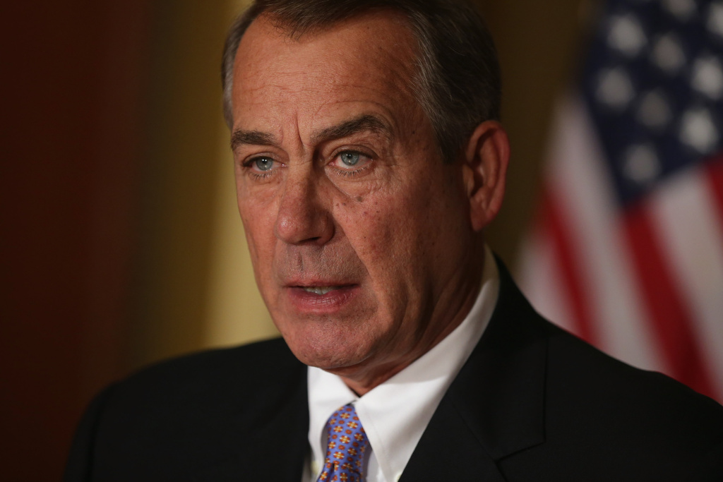 Speaker of the House John Boehner (R-OH) talks with reporters in his office in the U.S. Capitol in this November 21, 2014 file photo. GOP lawmakers say Boehner will resign at the end of October.