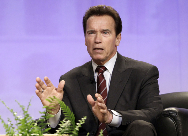 Gov. Arnold Schwarzenegger discusses the need for change in the state's budget process during an appearance at the annual California Chamber of Commerce Host breakfast in Sacramento, Calif., Tuesday, May 18, 2010.