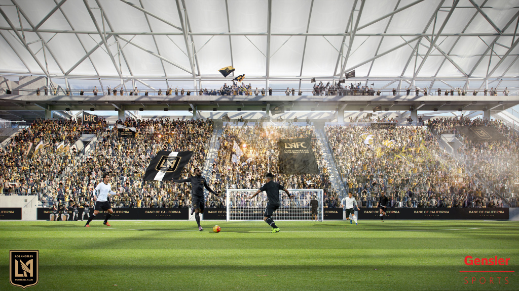 An architect's rendering of the Supporters Section of the new Banc of California Stadium, home of the Los Angeles Football Club.