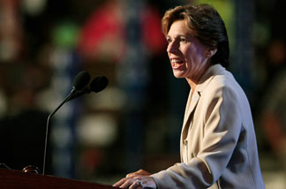 File photo: Randi Weingarten, president of American Federation of Teachers, speaks during day one of the Democratic National Convention (DNC) at the Pepsi Center August 25, 2008 in Denver, Colorado.