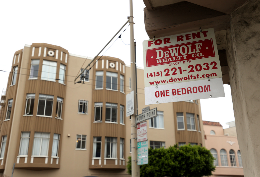 A for rent sign is posted in front of an apartment buidling on September 01, 2020 in San Francisco, California.