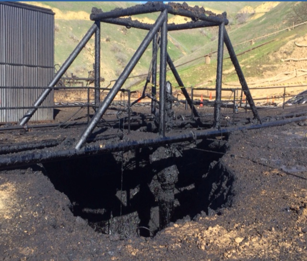 This photo, which appears in a report of the Interagency Task Force  on Natural Gas Storage Safety, shows the damage to Aliso Canyon gas well SS-25 after the massive leak was plugged.