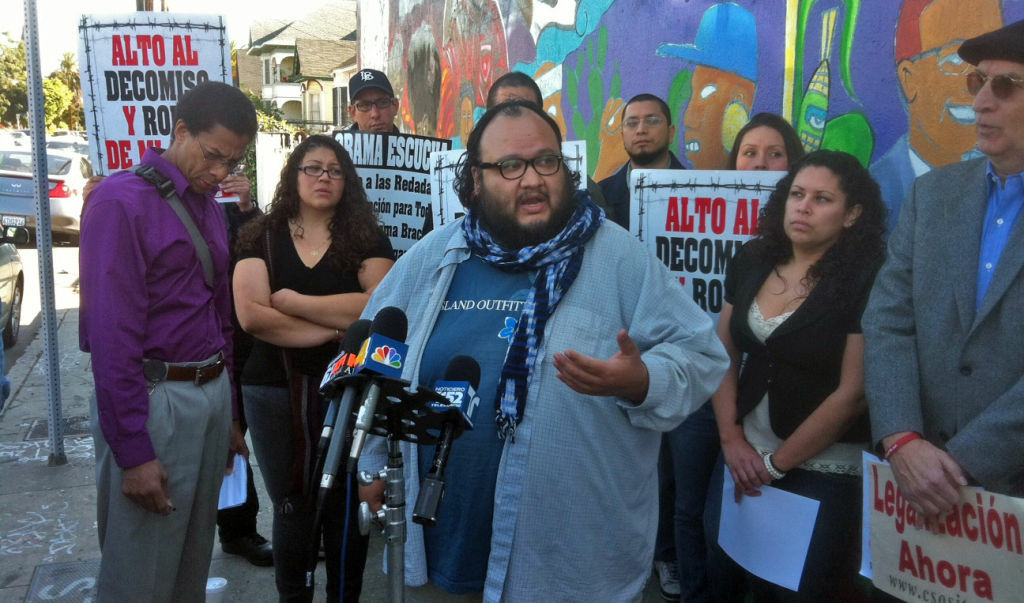 Martin Terrones of the Southern California Immigration Coalition spoke at an L.A. news conference where he and fellow members urged undocumented, unlicensed drivers to be careful on the roads during the holiday season, Dec. 22, 2011.
