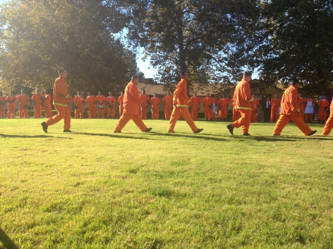 L.A. County inmate firefighters load up their gear to demonstrate some techniques and skills learned during the fire training program.