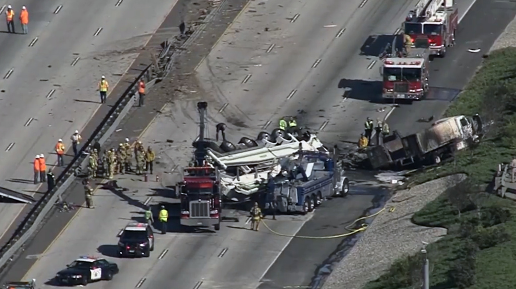 A 10 Freeway crash that left four dead on Friday, Feb. 16, 2018.
