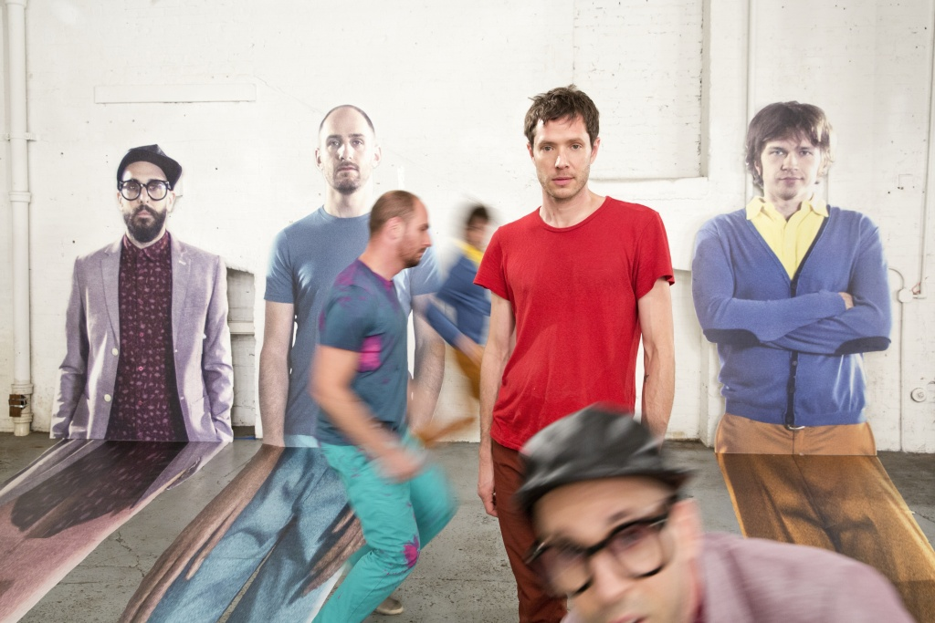 OK GO on the set of The Writing's On The Wall