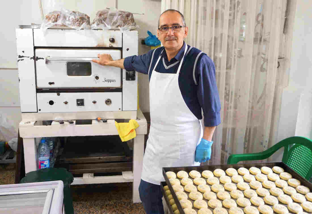 Owner of Helwayat Al-Salam, Mitri Hanna Moussa. Mitri's family has been making maamoul for decades – even before they had an oven to bake them in.
