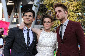 Actors Taylor Lautner, Kristen Stewart and Robert Pattinson arrive at the premiere of Summit Entertainment's 'The Twilight Saga: Eclipse' during the 2010 Los Angeles Film Festival at Nokia Theatre L.A. Live on June 24, 2010 in Los Angeles, California.