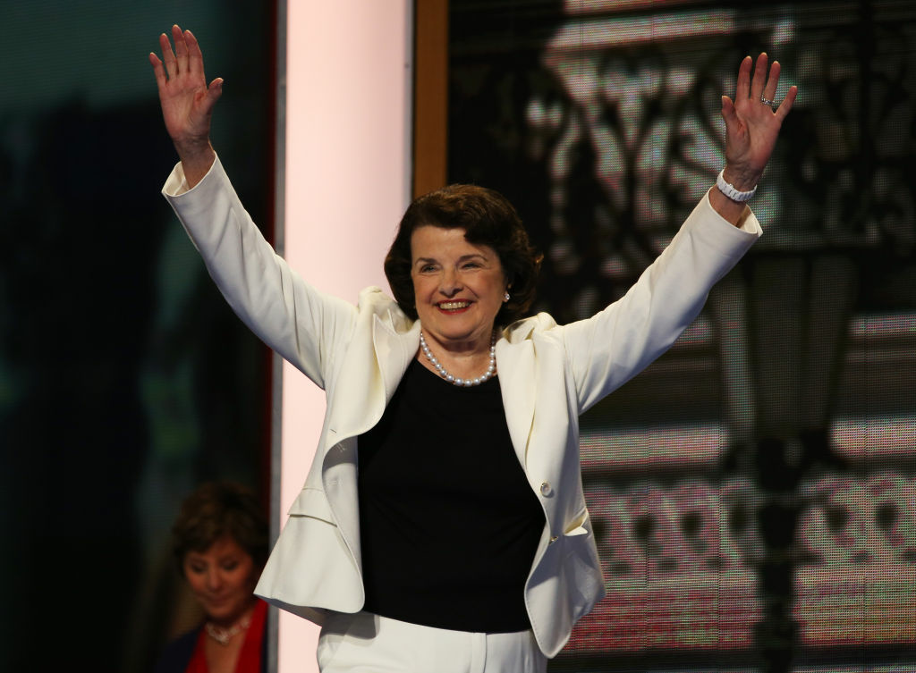 Sen. Dianne Feinstein (D-CA) takes the stage during day two of the Democratic National Convention at Time Warner Cable Arena on Sept. 5, 2012 in Charlotte, North Carolina.