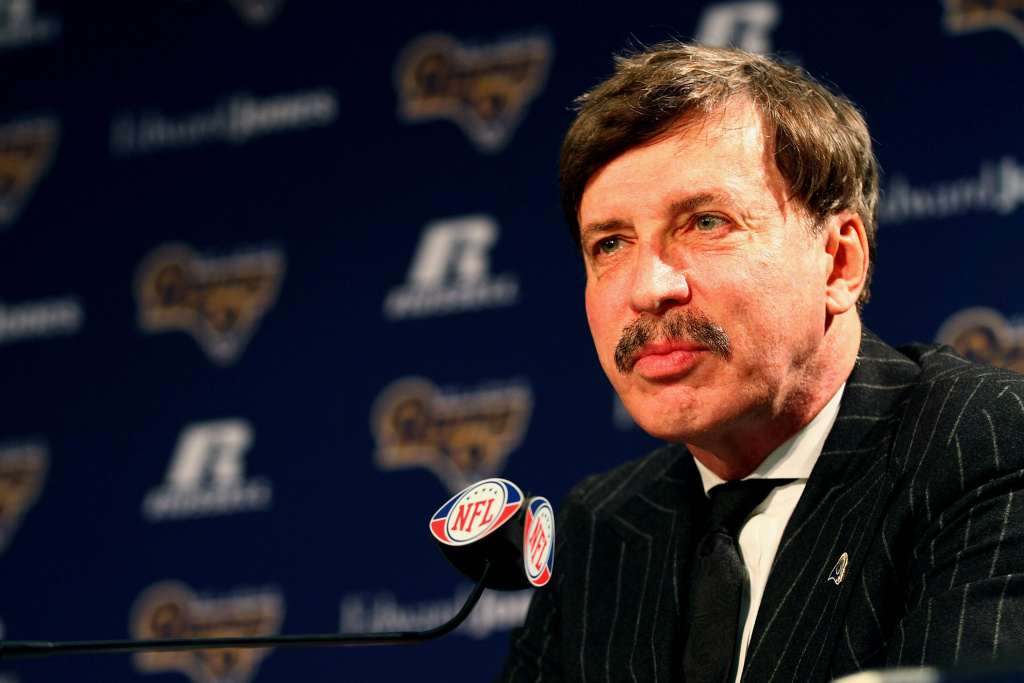 In this file photo, St. Louis Rams owner Stan Kroenke addresses the media during a press conference at the Russell Training Center on January 17, 2012 in Earth City, Missouri. Team officials on Friday confirmed the recent purchase of a 60-acre site near the Forum indoor arena in Inglewood amid speculation of a possible return of the Rams to L.A.