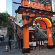 A shot of the station at the bottom of Angels Flight railway on the morning of Thursday, Aug. 31, 2017, its grand reopening after a four-year closure and nearly $5 million renovation.