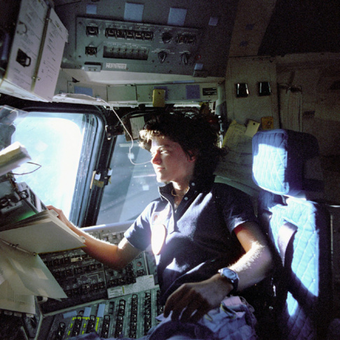 Sally Ride poses with fellow NASA astronauts Robert Crippen (C, first row), Frederick Hauck (R), John Fabian and Norman Thagard.