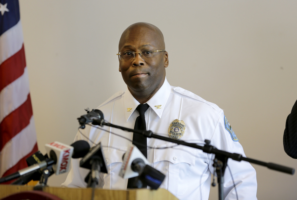 Andre Anderson speaks during a news conference announcing him as the interim police chief of the Ferguson Police Department Wednesday, July 22, 2015, in Ferguson, Mo. Anderson becomes the second interim chief since Police Chief Thomas Jackson stepped down in March.