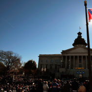 A Confederate flag that's part of a Civil War memorial on the grounds of the South Carolina State House flies during a Martin Luther King Day rally in 2008.
