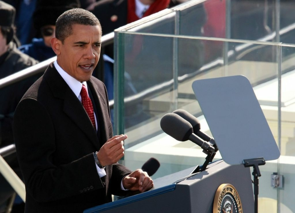 President Barack Obama gives his inaugural address during his inauguration as the 44th President of the United States of America on the West Front of the Capitol Jan. 20, 2009 in Washington, DC.