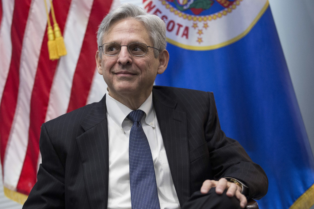 U.S. Supreme Court nominee Merrick Garland looks on during a photo opportunity before a private meeting with Sen. Al Franken (D-MN) in Franken's office on Capitol Hill, March 30, 2016 in Washington, DC.