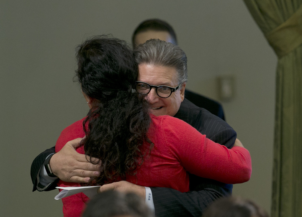 State Sen. Bob Hertzberg, D-Van Nuys, hugs Assemblywoman Lorena Gonzalez Fletcher, D-San Diego, after his storm water bill was approved by the Assembly, Thursday, Aug. 31, 2017, in Sacramento.