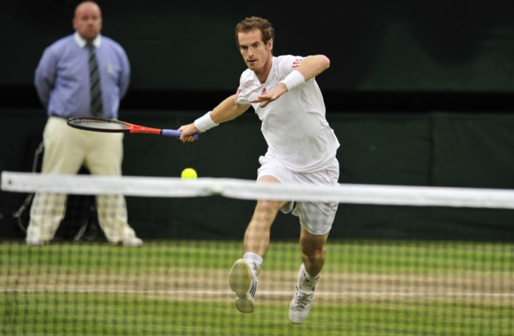 Britain's Andy Murray prepares to play a
