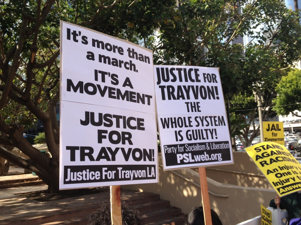 Signs of support for Trayvon Martin during a protest at Pershing Square in Downtown L.A.