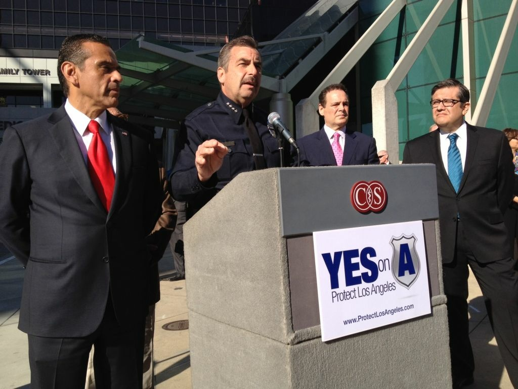 Mayor Antonio Villaraigosa and LAPD Chief Charlie Beck appeared at a press conference Monday in support of Measure A, which would increase the city's sales tax. Without it, the LAPD could lose 200 to 500 officers, according to the city's top budget official.