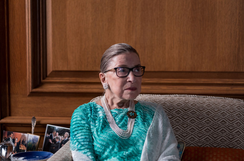 Supreme Court Justice Ruth Bader Ginsburg is pictured in the justice's chambers in Washington, D.C., during an interview with NPR's Nina Totenberg in September 2016.