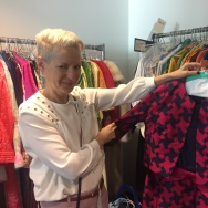 """Costume designer Lou Eyrich shows off one piece of clothing used in the FX series, """"Feud."""""""
