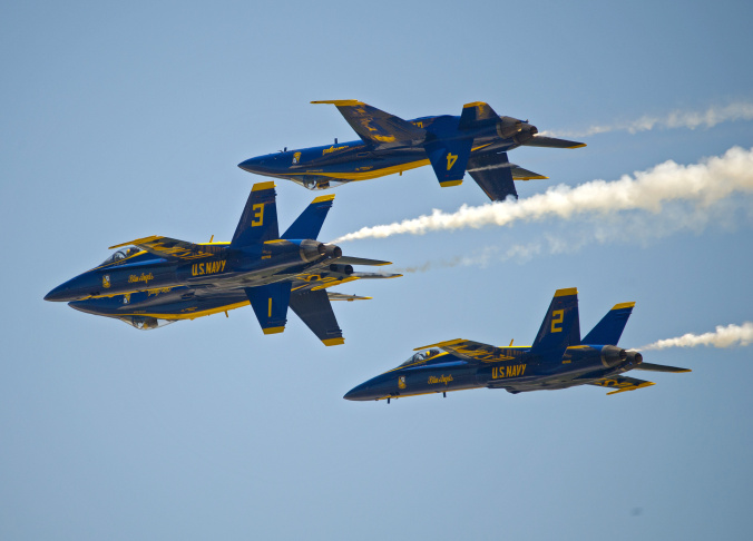 The U.S. Navy's Blue Angels perform their precision aerobatics over the Florida Keys during the Southernmost Air Spectacular at Naval Air Station Key West on March 23, 2013, in Key West, Florida. The weekend air show concludes Sunday, March 24, and may mark the the last Blue Angels performance through the end of September 2013 due to sequester budget cuts.