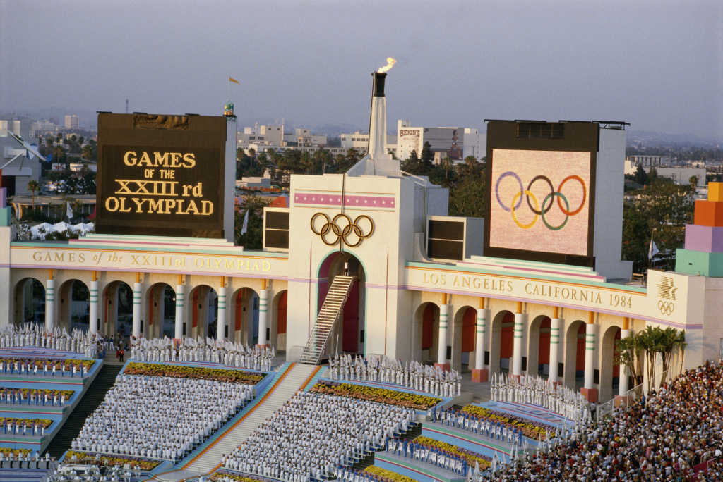 An overview of the opening ceremony at the Los Angeles Coliseum during the lighting of the Olympic flame of the 1984 Summer Olympics, July 28, 1984.