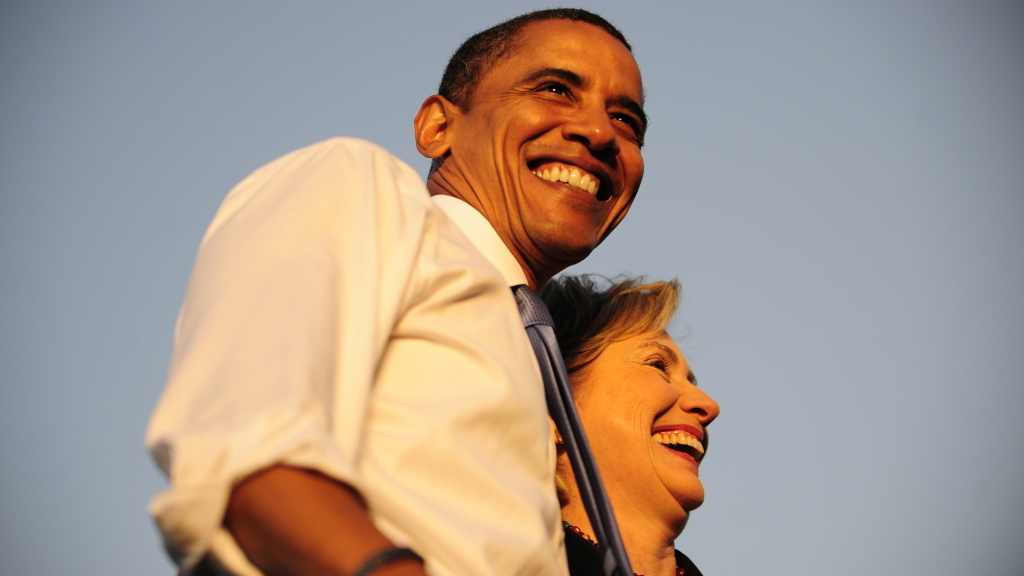 Barack Obama and Hillary Clinton address supporters at a Florida rally in October 2008.
