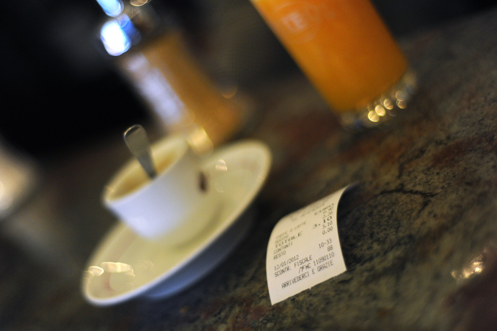 A till receipt is displayed on a bar on January 12, 2012 in Rome.