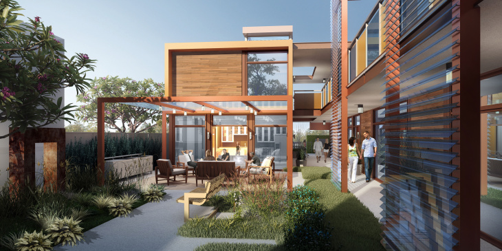 A rendering of what the veterans housing complex Potter's Lane will look like.