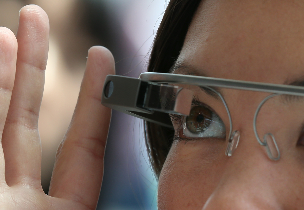 An attendee tries Google Glass during the Google I/O developer conference on May 17, 2013 in San Francisco, California.