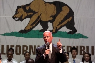 California Governor-elect Jerry Brown speaks to supporters as he celebrates his win during an election night party at Fox Theater on November 2, 2010 in Oakland, California.