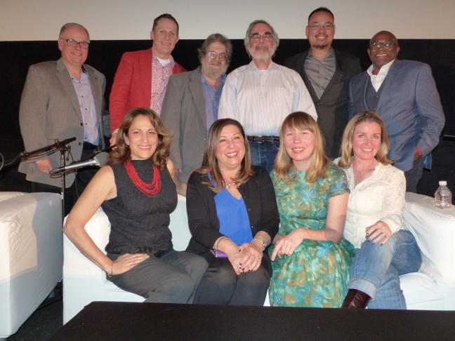 (L-R, Top Row) Larry Mantle, Wade Major, Andy Klein, Charles Solomon, Justin Chang, Tim Cogshell (L-R, Bottom Row) Lael Loewenstein, Claudia Puig, Amy Nicholson and Christy Lemire pose for a photo at AirTalk's FilmWeek at the Egyptian 2016.