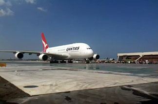 Qantas A380 plane on new taxiway